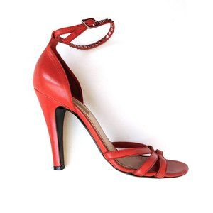 Marc Jacobs Red Strappy Leather Sandals Heels